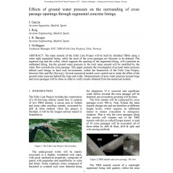 Effects of ground water pressure on the surrounding of cross passage openings through segmental concrete linings