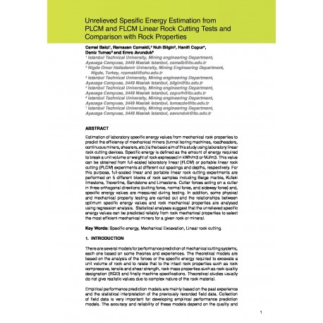 Unrelieved Spesific Energy Estimation from PLCM and FLCM Linear Rock Cutting Tests and Comparison with Rock Properties