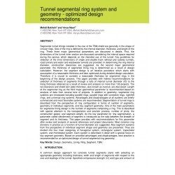 Tunnel segmental ring system and geometry - optimized design recommendations