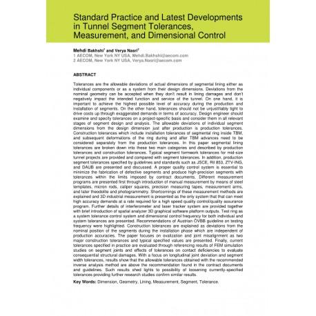 Standard Practice and Latest Developments in Tunnel Segment Tolerances, Measurement, and Dimensional Control