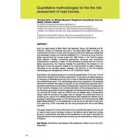 Quantitative methodologies for the fire risk assessment of road tunnels