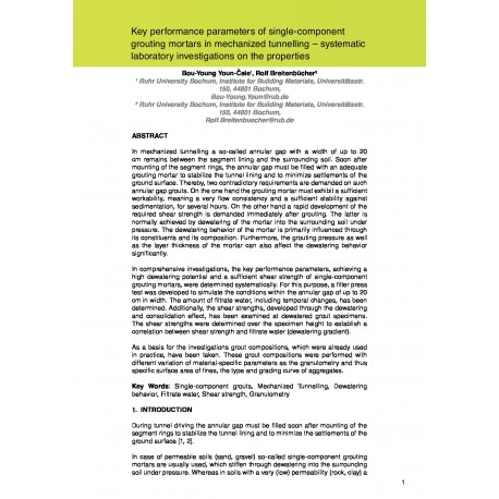 Key performance parameters of single-component grouting mortars in mechanized tunnelling – systematic laboratory investigations on the properties