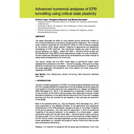 Advanced numerical analyses of EPB tunnelling using critical state plasticity