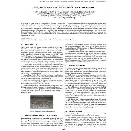 Study on Section Repair Method for Cut and Cover Tunnels