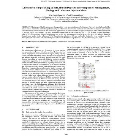 Lubrication of Pipejacking in Soft Alluvial Deposits under Impacts of Misalignment, Geology and Lubricant Injection Mode