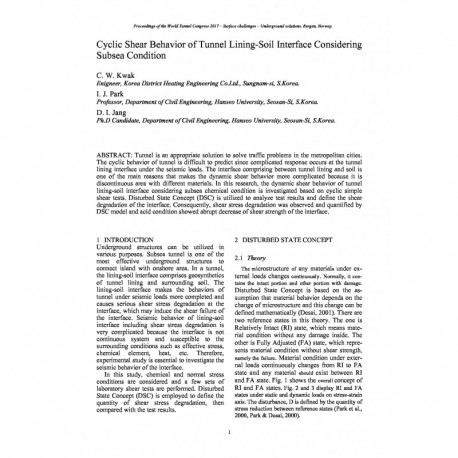 Cyclic Shear Behavior of Tunnel Lining-Soil Interface Considering Subsea Condition