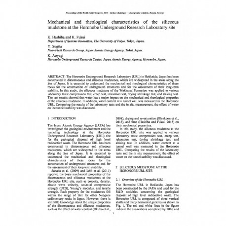 Mechanical and rheological characteristics of the siliceous mudstone at the Horonobe Underground Research Laboratory site