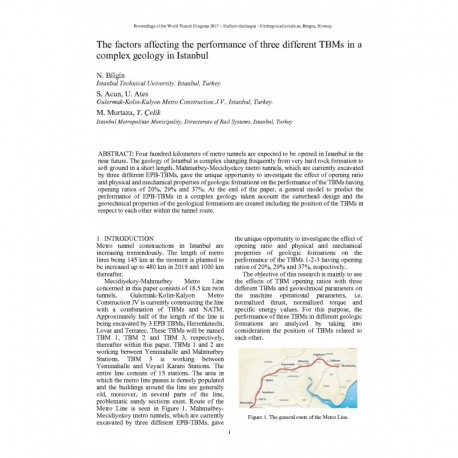 The factors affecting the performance of three different TBMs in a complex geology in Istanbul