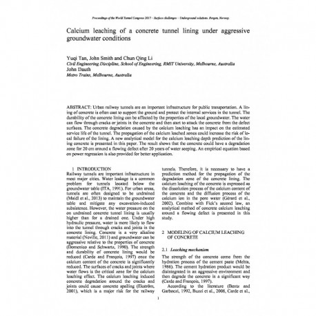 Calcium leaching of a concrete tunnel lining under aggressive groundwater conditions