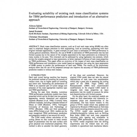 Evaluating suitability of existing rock mass classification systems for TBM performance prediction and introduction of an alternative approach