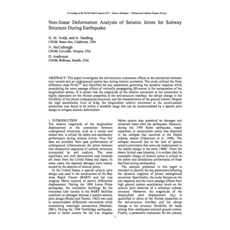 Non-linear Deformation Analysis of Seismic Joints for Subway Structure During Earthquake