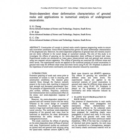 Strain-dependent shear deformation characteristics of grouted rocks and applications to numerical analysis of underground excavations