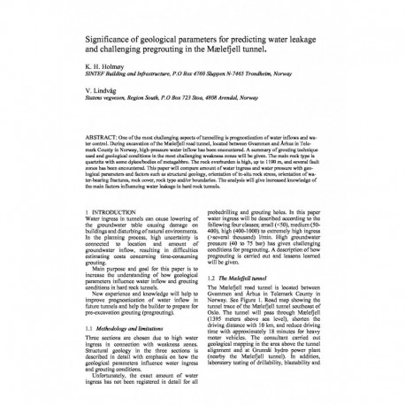 Significance of geological parameters for predicting water leakage and challenging pregrouting in the Mælefjell tunnel
