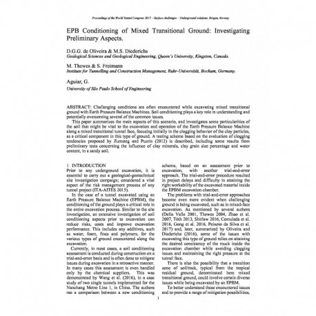 EPB Conditioning of Mixed Transitional Ground: Investigating Preliminary Aspects