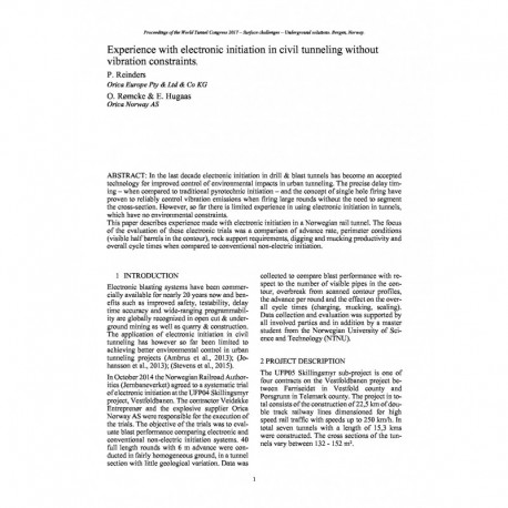 Experience with electronic initiation in civil tunneling without vibration constraints