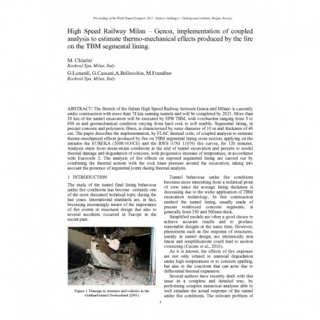 High-Speed Railway Milan – Genoa, implementation of coupled analysis to estimate thermo-mechanical effects produced by the fire on the TBM segmental lining