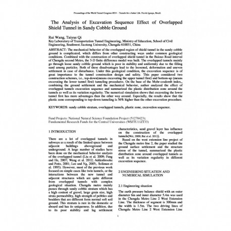 The Analysis of Excavation Sequence Effect of Overlapped Shield Tunnel in Sandy Cobble Ground