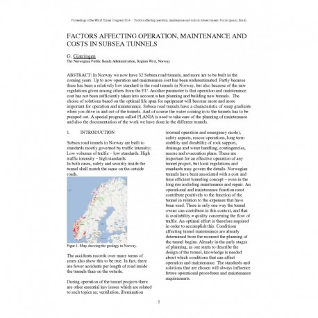 Factors affecting operation, maintenance and costs in subsea tunnels