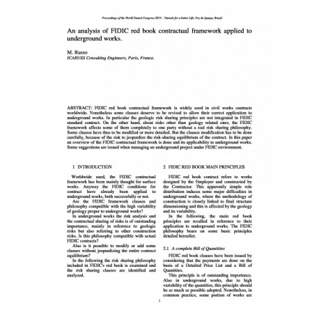 An analysis of FIDIC red book contractual framework applied to underground works