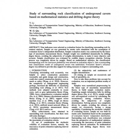 Study of surrounding rock classification of underground cavern based on mathematical statistics and drifting degree theory