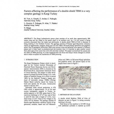 Factors affecting the performance of a double shield TBM in a very complex geology in Kargi Turkey