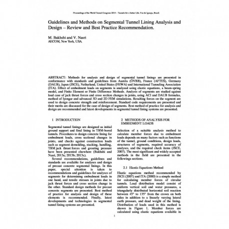 Guidelines and Methods on Segmental Tunnel Lining Analysis andDesign – Review and Best Practice Recommendation